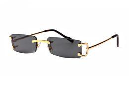 Rote randlose rahmen online-Mode randlose Sonnenbrille Mann und Frau Unisex Vintage mit Box Famous Lady Büffelhorn Brille braun rot rosa gold silber Metallrahmen