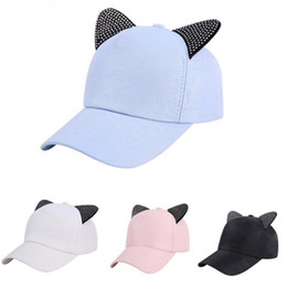 2018 New Meow Rhinestone Snapback Cute Cat Ears Cartoon Baseball Cap Women  Casual Sun Hat Gorras Bones Casquette for Woman 8ee67fd1eb56