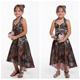 Wholesale Cheap Flower Girl Summer Dresses - New Cheap Halter Camo Flower Girls Dresses High Low Satin Outside Countryside Formal Kids Gowns Wedding Party Wear Hi Lo Summer