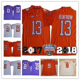 Wholesale Kelly Manning - Hot Sale Clemson Tigers College Football 2 Kelly Bryant 9 Travis Etienne Jr. 13 Hunter Renfrow 2018 Sugar Bow patch White Orange Jerseys