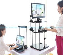 Wholesale Adjustable Laptop Holder - DLJ01 Sit Stand Desk Riser Three Level Height Adjustable Lightweight Standing Laptop Desk Notebook Monitor Holder Stand