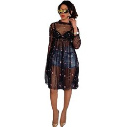 Wholesale Women Long Dresses Sale - Hot Sale Women See Through Summer Short Dress Fashion Sexy O-Neck Mini Dress Print Chiffon Night Party Vestido WY6338