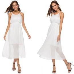 Vestidos formais desgaste escritório verão on-line-Desgaste do escritório das mulheres com uma linha de cintura alta branco Chiffon Spaghetti Strap vestido de trabalho para as mulheres vestidos de verão formal verão vestidos