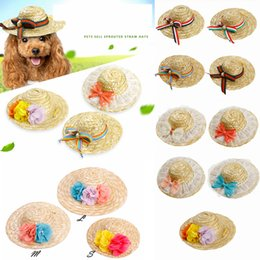 Wholesale wholesale small straw hat - 9 Colors Pet Dog Cute Straw Sombrero Hat with String Lace Flower Party Adjustable Sunhat Cap Costume Accessory AAA538