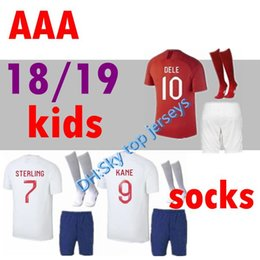 Wholesale England Home Jersey - 2018 World Cup soccer Jersey kids kit with socks ROONEY home Away KANE STURRIDGE STERLING HENDERSON VARDY 2019 england football shirt