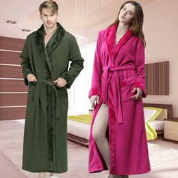 Women Winter Extra Long 2 Layers Thick Warm Bath Robe Flannel Peignoir  Femme Dressing Gown Men Bathrobe Bridesmaid Wedding Robes 6419f51b8