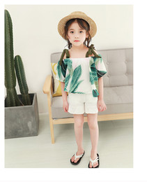 Wholesale Two Cute Babies - NEW Kids 100%Cotton Big Green Leaf Print Suspender girl's shirt + white short causal summer girl two pieces set Baby & Kids Clothing