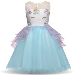 Wholesale wholesale sashes - Toddler Girls Unicorn Dress 4 Colors Sleeveless Embroidered 3D Unicorn Princess Dresses Wedding Dress Summer Performance Skirt 3-7T