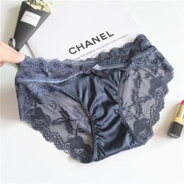 c0c8762b429 2019 Fashion Women Silk Lace Underwear Bowknot Panties Women Briefs Size S  M L