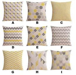 Ventas al por mayor Funda de almohada de lino Amarillo Gris Funda de cojín Nordico Geometric Style Home Funda de almohada decorativa 45X 45Cm / 30X 50Cm desde fabricantes