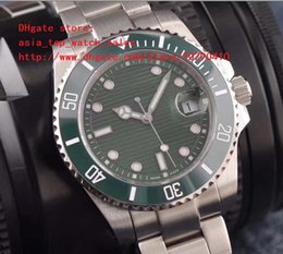 Wholesale Mirror Bezel - latest version Luxury AAA Brand 116610 40mm green stripe Dial Asia 2815 movement Ceramic bezel Sapphire Mirror High quality Men's watch