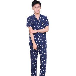 f0191adf3729 Summer Pajamas Set For Men 2018 New Short Sleeve Shirt+Pants Sleep Suit  Cotton 2PCS Sleepwear Print Casual Nightwear Home Wear inexpensive summer  men home ...