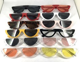 Wholesale Wholesale Half Shaded Sunglasses - Newest Sexy Cat Eye Half frame Sunglasses Women Brand Designer Lady Sun Glasses For Female Vintage Shades Eyewear UV400