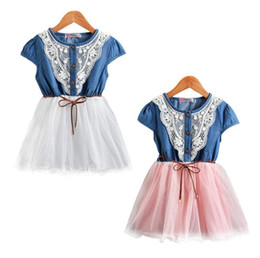 Wholesale net belt - New girls Denim Net Summer dresses Baby Girl Sweet Dress With Belt Short Sleeve Baby Kid's Princess Dress