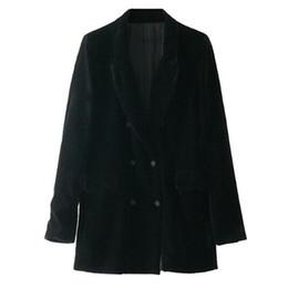 Wholesale notch collar slim fit suits - Vintage Notched Collar Double Breasted Velour Blazer Woman Long sleeve Slim Fit Suit Jacket Velvet Coat Outerwear Black