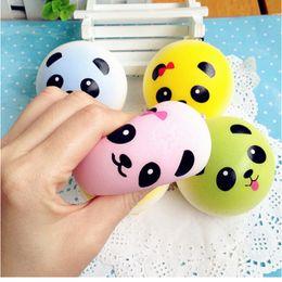 Wholesale Foam Novelties - 3D Kawaii Squishy Rare Jumbo Squishies Panda for Keys Phone Strap Mobile Phone Charm Pendant Keychains Cell Phone Accessories Colorful