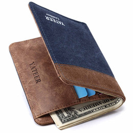 Wholesale Man Thin Wallet - Designer luxury brand Canvas mens wallets Solid fashion two color YATEER wallet male ultra thin high quality purses 1PCS Free Shipping