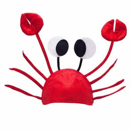Wholesale fancy beanies - 1 Pcs Cute Festival Red Lobster Crab Sea Animal Hat Fashion Halloween Costume Fancy Party Adult Children Cap