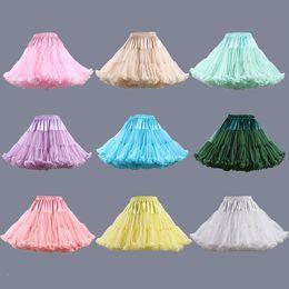Wholesale Short Black Crinoline - Lolita Rainbow Tulle Puffy Petticoat Kids Flower Girl Trumpet Quinceanera Petticoat Under Skirt Underskirts For Short Dresses