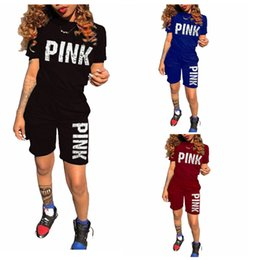 Wholesale tight ladies t shirt - Women Pink Letter Tracksuits Short Sleeve T-shirt Top Tees Shorts Pants Ladies Tight Bodycon Summer Casual yoga Vs Jogger Suit MM300 30pcs