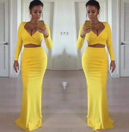white tight evening gowns Coupons - Sexy African Black Girls 2019 Yellow Prom Dresses Long Sleeves Two Pieces Tight Formal Sexy Evening Gowns Party Dress Cheap