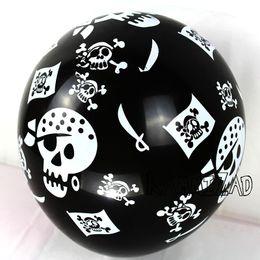 Pirate party supplies online-Nuevo 100 Unids / lote 12 Pulgadas Pirata Látex Globos de Halloween Cráneo Negro Helio Globos Piratas Tema Fiesta de Cumpleaños Suministros Juguetes de Los Niños
