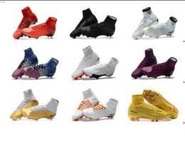 Wholesale Gold Indoor Soccer Shoes - 2018 mens soccer cleats Mercurial Superfly V Ronalro FG indoor soccer shoes kids football boots cr7 boys neymar boots Rising Fast Pack Blue