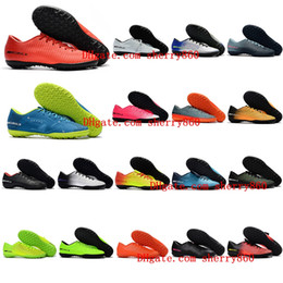Wholesale Indoor Turf Football Shoes - 2018 mens womens soccer cleats boys kids youth low mercurial superfly football boots cr7 cleats Mercurical Victory VI TF Turf soccer shoes