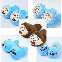 Wholesale warm slippers for women - New Rick and Morty Plush Slippers Rick and Morty Half heel Soft Warm Household Winter Slippers for women man big children Shoes 28cm C3039