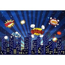 città di sfondo Sconti Fondo di fotografia del fumetto dei bambini delle costruzioni della città delle stelle di scintillio del cielo notturno del contesto della foto della festa di compleanno del supereroe