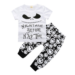 Wholesale boys costume clothes - Newborn Baby Boys Clothing Toddler T-shirt+Pants 2PCS set Skull Heads Outfit Infant Boutique Casual Clothes Kids Costume Children Pajamas