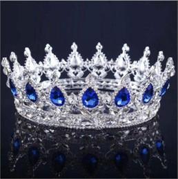 2019 fascinadores lindos 2019 princesa cristais coroa de casamento liga de noiva tiara barroco rainha rei coroa clara azul royal red strass nupcial tiara coroa