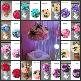 Wholesale Pink Hydrangea Wedding Bouquet - Artificial Rose Hydrangea Kissing Ball Wedding Road Cited Flower Roman Column Lead Bouquet T station Decoration Supplies 35cm 14 inch