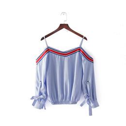 2019 mädchen zerschlissen tops Sishot Plaid Bluse Frauen Sommer Langarm Pullover Casual Mädchen Tops Slash Neck Lace-up Fashion Sexy Hellblau Bluse günstig mädchen zerschlissen tops