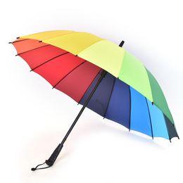 Wholesale cane top - Top Quality Women Rain Umbrella Long Handle Big Rainbow Walking Stick Umbrella Cane Anti-UV Sunny Golf Windproof Parasol