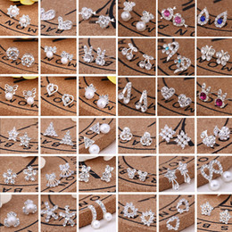 Wholesale Stud Earings Heart - 2018 wholesale Jewelry Best Friends White Gold Plated Earings Big Diamond Earrings for Women White Zircon Earrings 300pairs Lot, 45 styles