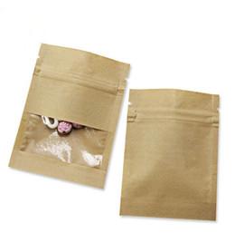 Sacos de zíper de armazenamento de papel on-line-7X9cm White Paper Kraft pequeno Thicken Brown Zip bloqueio bolsa com zíper bolsa com Limpar janela para o chá de café Snacks Doce Armazenamento de Alimentos