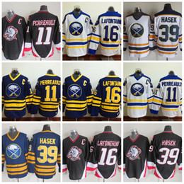 Wholesale Vintage Pat - Throwback 1992 Buffalo Sabres Hockey 16 Pat LaFontaine 11 Gilbert Perreault 39 Dominic Hasek Vintage CCM C Patch Jersey