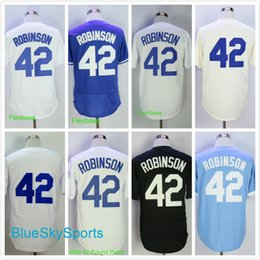 Wholesale Army Baby - Men's 42 Jackie Robinson Jersey Retro Los Angeles Baseball Jerseys White Gray Baby Blue Throwback Stitched