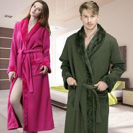 23d70187af Men Women Winter Extra Long Flannel Fur Thick Fleece Warm Bathrobe Mens  Luxury Thermal Bath Robe Dressing Gown Male Kimono Robes