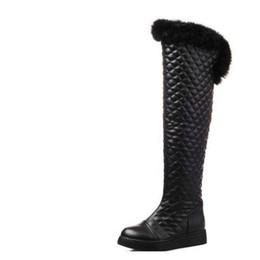 Bottes de neige en fourrure de lapin en Ligne-Bottes de neige longues bottes plates bottes d'hiver bottes d'hiver femme fourrure lapin mi-jambe hiver
