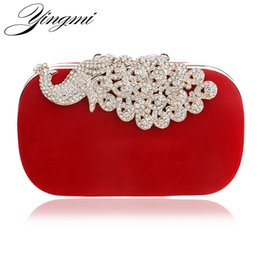 Wholesale Evening Peacock Clutch Handbags - YINGMI Peacock Diamonds Metal Evening Bag Long Chain Shoulder Handbags Rhinestones Wedding Bridal Purse Clutch Bag For Wedding