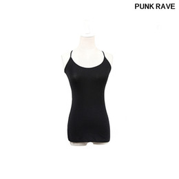 chalecos traseros delgados Rebajas Tanga ajustable Tank Camis Gothic Elastic Cotton Close-Fitting Top fino sin mangas Sexy Open Back Elegante chaleco PUNK RAVE T-296