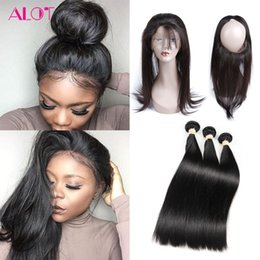 Wholesale Unprocessed Chinese Straight Hair - 8A Grade Brazilian Virgin Hair Bundles Straight Hair 360 Lace Frontal with 3 Bundles 100% Unprocessed Virgin Human Hair Extensions