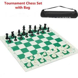 Tablero verde online-Nueva llegada de viaje al aire libre portátil tablero de ajedrez tradicional Club de torneo de juego de ajedrez con tablero verde Roll-up + bolsa de plástico