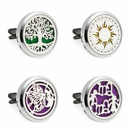 Wholesale cars slide - Tree of life Aromatherapy Car Locket Essential Oil Diffuser Locket Clip with 10pcs Washable Felt Pads free shipping