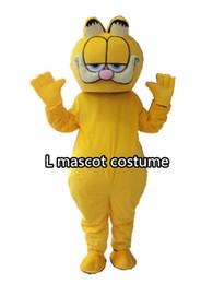 Gato amarillo tamaño adulto traje de la mascota del personaje de dibujos animados disfraces niños niños fiesta de cumpleaños gato mascota envío gratis desde fabricantes