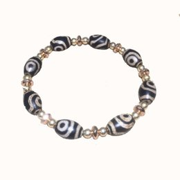 Желчные камни онлайн-Tibet old black and white 2 eyes agate DZI ladies jewelry bracelet black gallstones with  Free Shipping