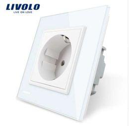 2019 стеклянные розетки livolo Livolo ЕС стандартная розетка, белый кристалл стеклянная панель, переменного тока 110~250В 16А настенная розетка, VL-C7C1EU-11 дешево стеклянные розетки livolo
