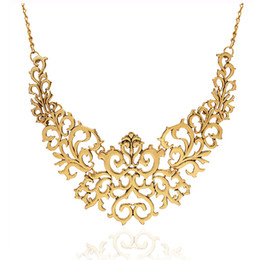 Wholesale Carved Emeralds - Hot Sell Metallic Hollow Carved Necklace Fashion Women Hollow Bib Choker Statement Vintage Pendants Necklace Collier Femme